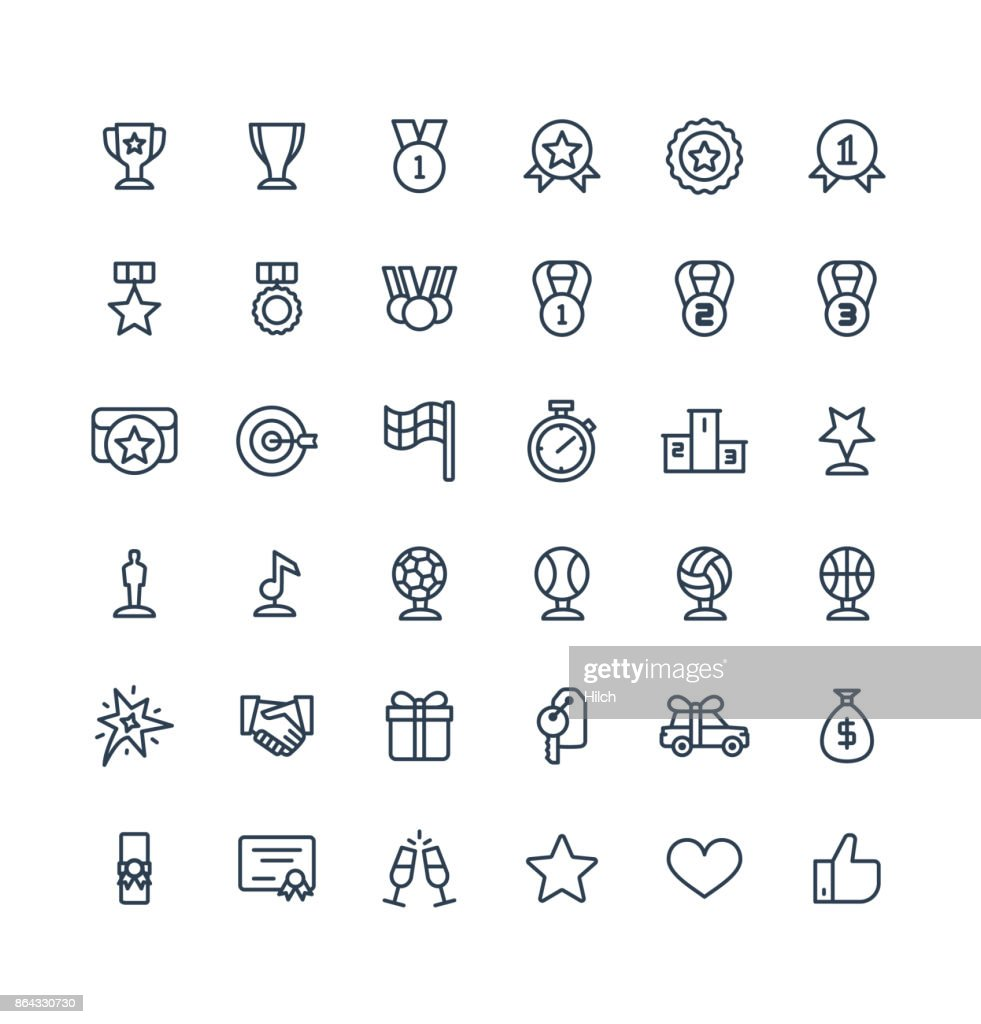 Vector thin line icons set with award, prize, achievement symbols.