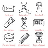 Vector thin line icons set with barber shop theme