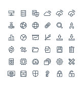 Vector thin line icons set with big data and analytics technology outline symbols