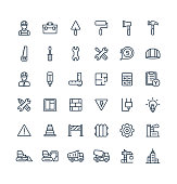Vector thin line icons set with construction, industrial, architectural, engineering outline symbols