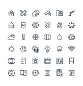 Vector thin line icons set with home, smart house outline symbols