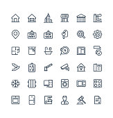 Vector thin line icons set with real estate outline symbols.