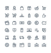 Vector thin line icons set with shopping and e-commerce outline symbols.