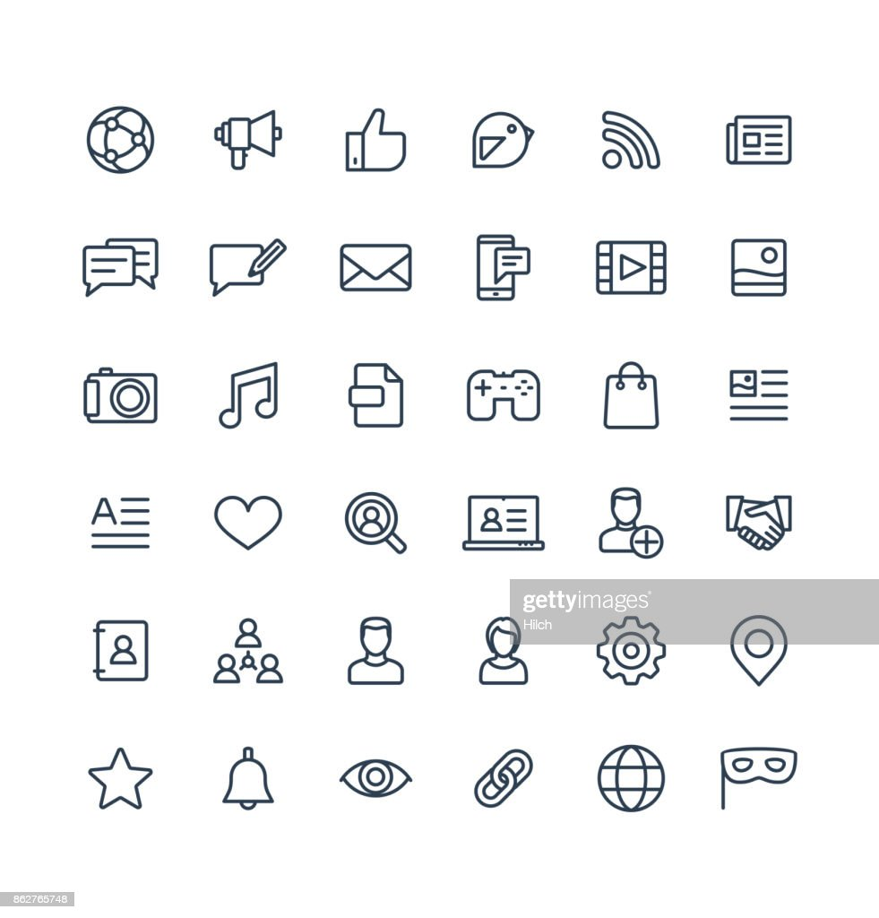 Vector thin line icons set with social media, network outline symbols.