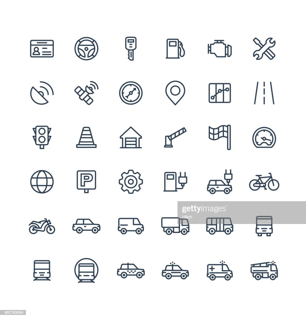 Vector thin line icons set with transport, navigation outline symbols.