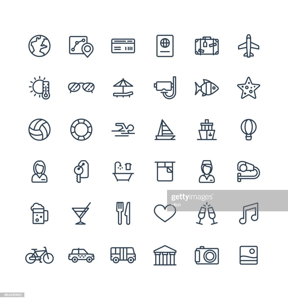 Vector thin line icons set with travel, tourism outline symbols. Summer vacation, hotel room service, luggage, sunglasses linear pictogram