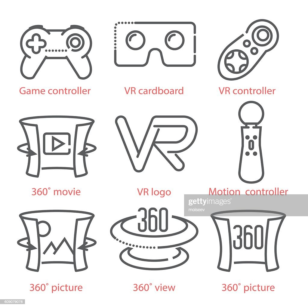 Vector thin line icons set with Virtual Reality equipment