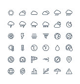 Vector thin line icons set with weather and meteo outline symbols.