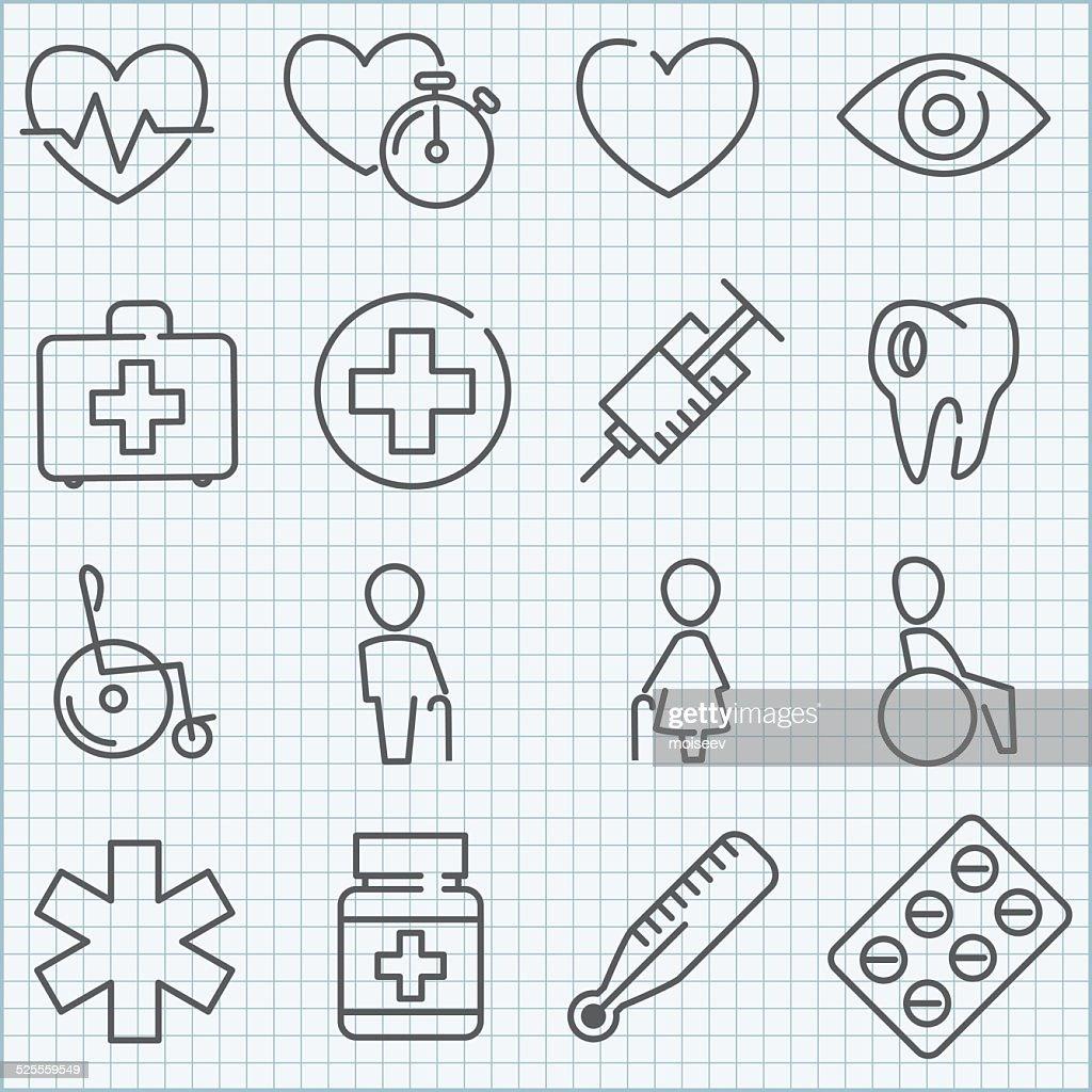 Vector thin line medicine icons set