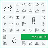 Vector thin line weather icons set and graphic design elements