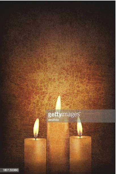 vector - three candles on grunge wall - candle stock illustrations, clip art, cartoons, & icons