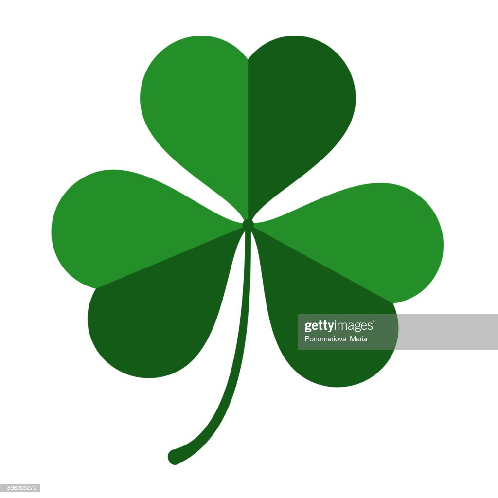 Vector three leaf green clover leaf for St. Patrick's day isolated on white background