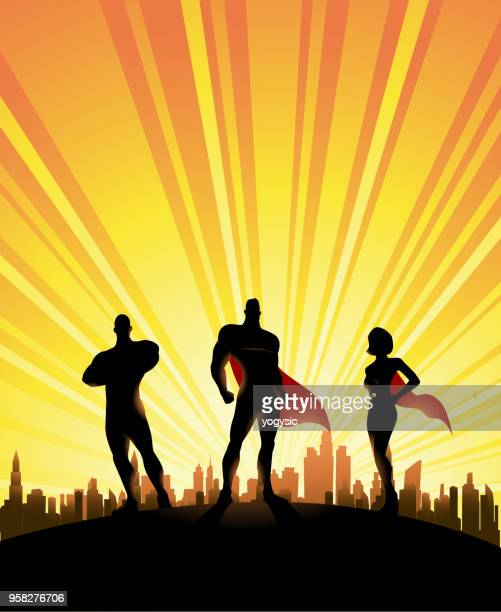 vector three superheroes silhouette with city skyline background - three people stock illustrations