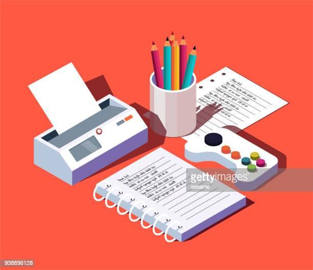 vector three-dimensional office supplies - desk organizer stock illustrations, clip art, cartoons, & icons