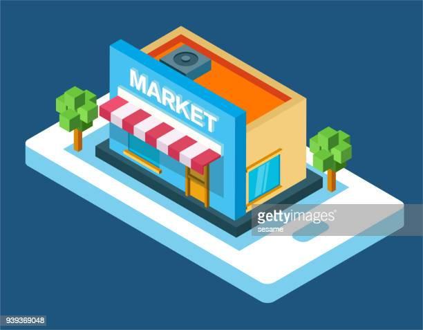 vector three-dimensional supermarket - awning stock illustrations, clip art, cartoons, & icons
