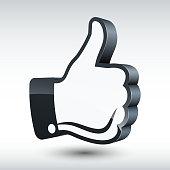 Vector three-dimensional thumb up