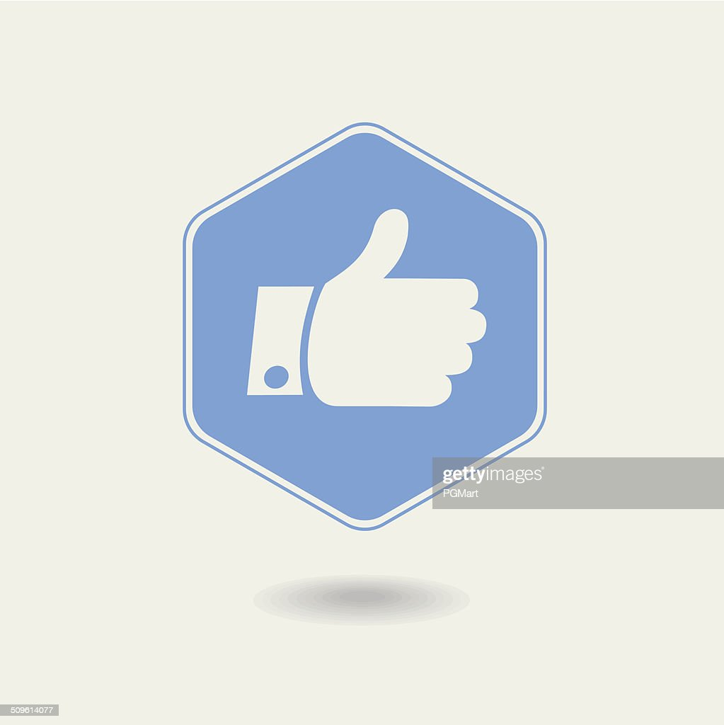 Vector Thumb up. Hexagonal Icon , flat design