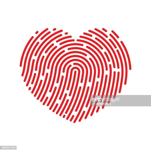 ilustraciones, imágenes clip art, dibujos animados e iconos de stock de vector thumbprint heart icon - huella dactilar