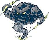 Vector Thunder Cloud Storm Tornado Mascot with Lightning Bolts