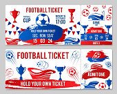 Vector tickets of football soccer cup championship