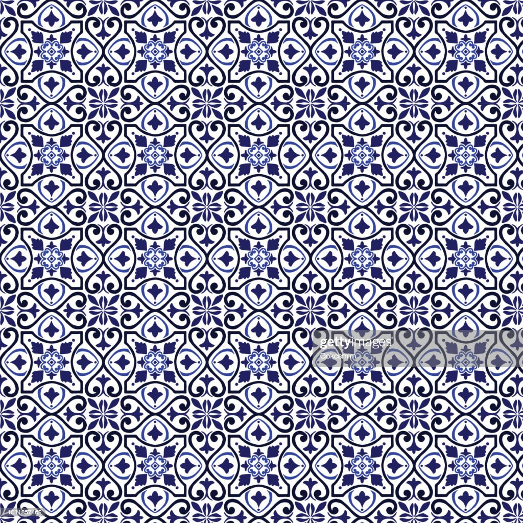 地中海シームレスなネイビー ブルー飾りリスボン アラビア語花モザイク タイル パターン ベクトル : ストックイラストレーション
