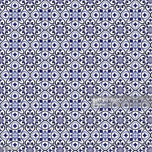 vector tile pattern, lisbon arabic floral mosaic, mediterranean seamless navy blue ornament - tradition stock illustrations