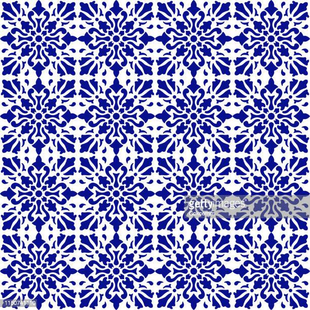 vector tile pattern, lisbon arabic floral mosaic, mediterranean seamless navy blue ornament - spanish culture stock illustrations