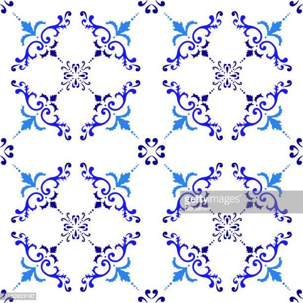 ilustrações, clipart, desenhos animados e ícones de teste padrão da telha do vetor, mosaico floral árabe de lisboa, ornamento sem emenda mediterrâneo do azul de marinha - cultura portuguesa