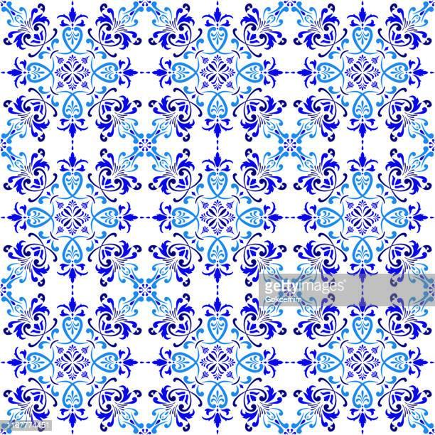 vector tile pattern, lisbon arabic floral mosaic, mediterranean seamless navy blue ornament. - traditionally portuguese stock illustrations