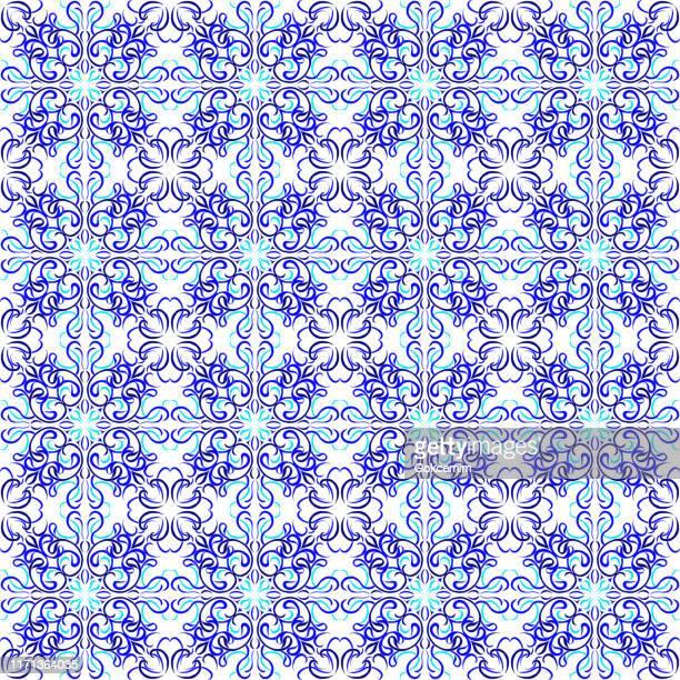 ilustraciones, imágenes clip art, dibujos animados e iconos de stock de patrón de teja vectorial, mosaico floral árabe de lisboa, ornamento azul marino sin costuras del mediterráneo. - patchwork