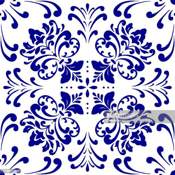 illustrazioni stock, clip art, cartoni animati e icone di tendenza di motivo di piastrelle vettoriali, mosaico floreale arabo di lisbona, ornamento blu marina mediterranea. - decoration
