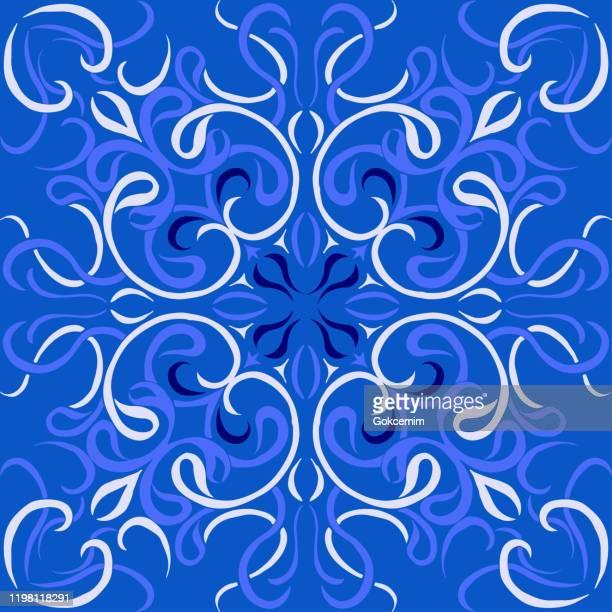 ベクタータイルパターン、リスボンアラビア花モザイク、地中海ネイビーブルーオーナメント。 - ヨーロッパ文化点のイラスト素材/クリップアート素材/マンガ素材/アイコン素材