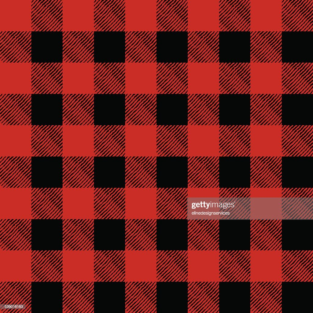 Vector Tiled Red and Black Flannel Pattern Illustration