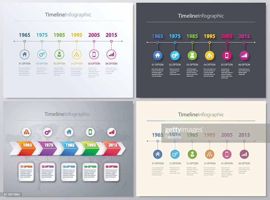Vector timeline Info graphic set with diagrams. 4 different versions