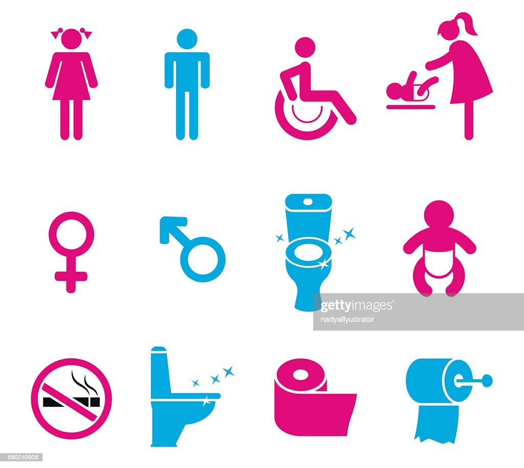 Vector toilet icons set isolated on white background.