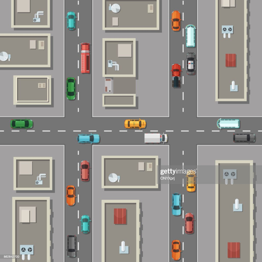 Vector top view city with office buildings rooftops, cars on the roads illustration