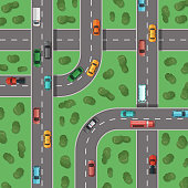 Vector top view highways with cars and with trees in between top view illustration