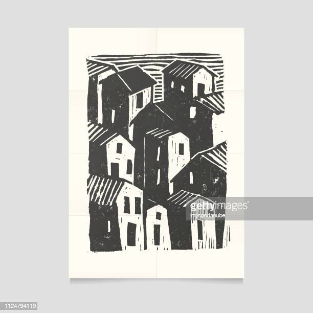 vector town illustration on folded paper. - printout stock illustrations