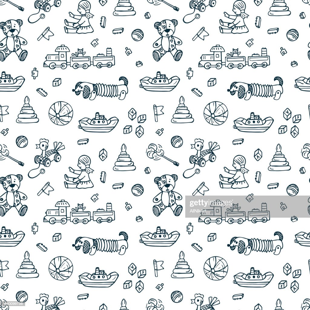 Vector Toys doodle seamless pattern. Kids background. Endless wallpaper. Vector