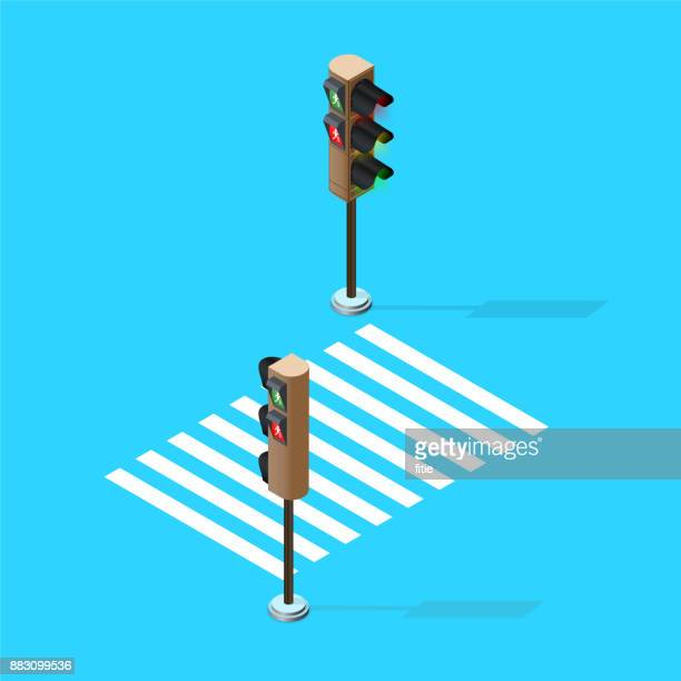 vector traffic lights and zebra crossing - stoplight stock illustrations