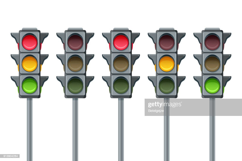 Vector traffic lights isolated on white background. Go, wait and stop symbols. Red, yellow and green lights, icons set.