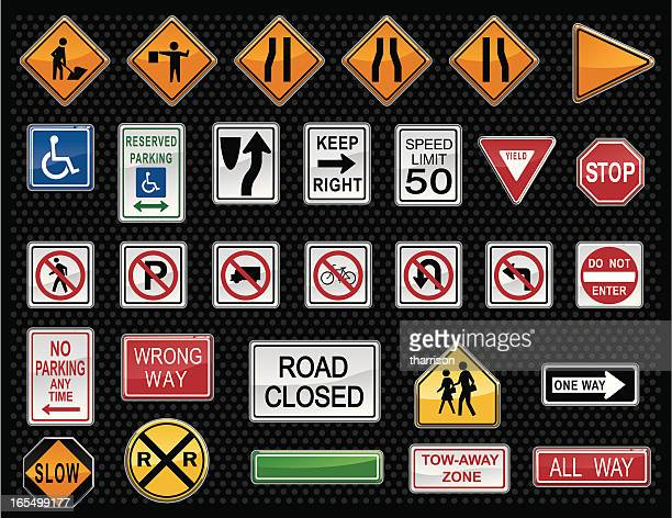 vector traffic warning sign buttons - one direction stock illustrations