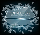 Vector transparent broken glass with sharp pieces. Abstract glass surface background