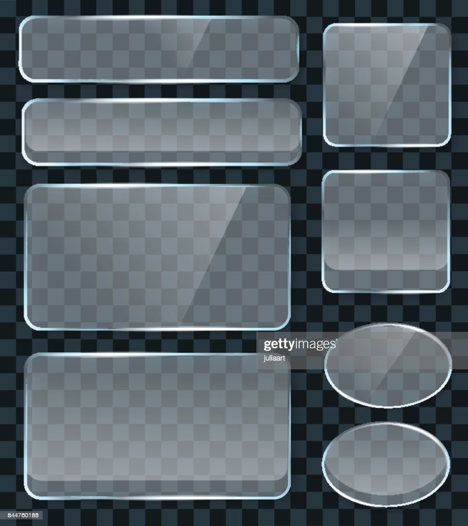 Vector transparent glass design elements for game and web. Glass surface background