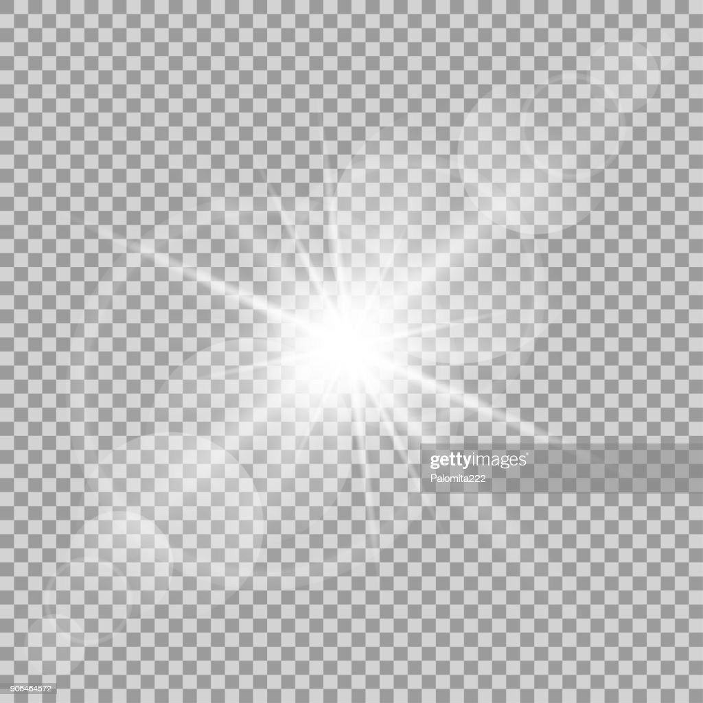 Vector transparent sun flash with rays and spotligh