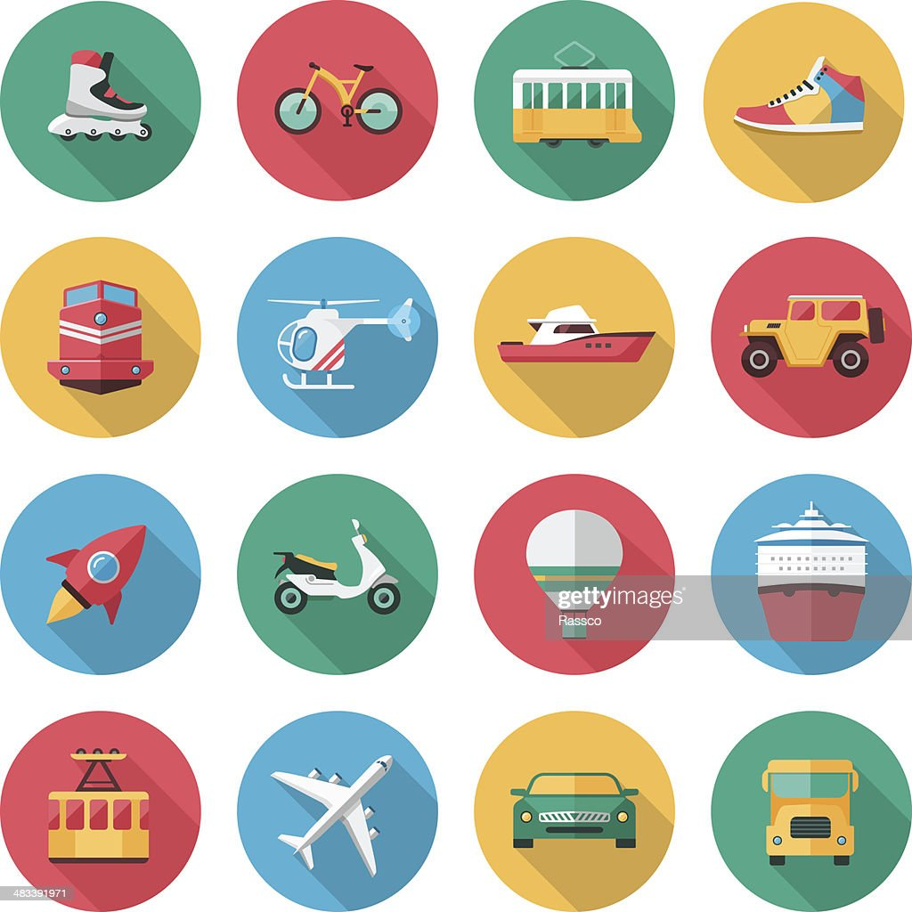 Vector transport icons in flat style with long shadow effect