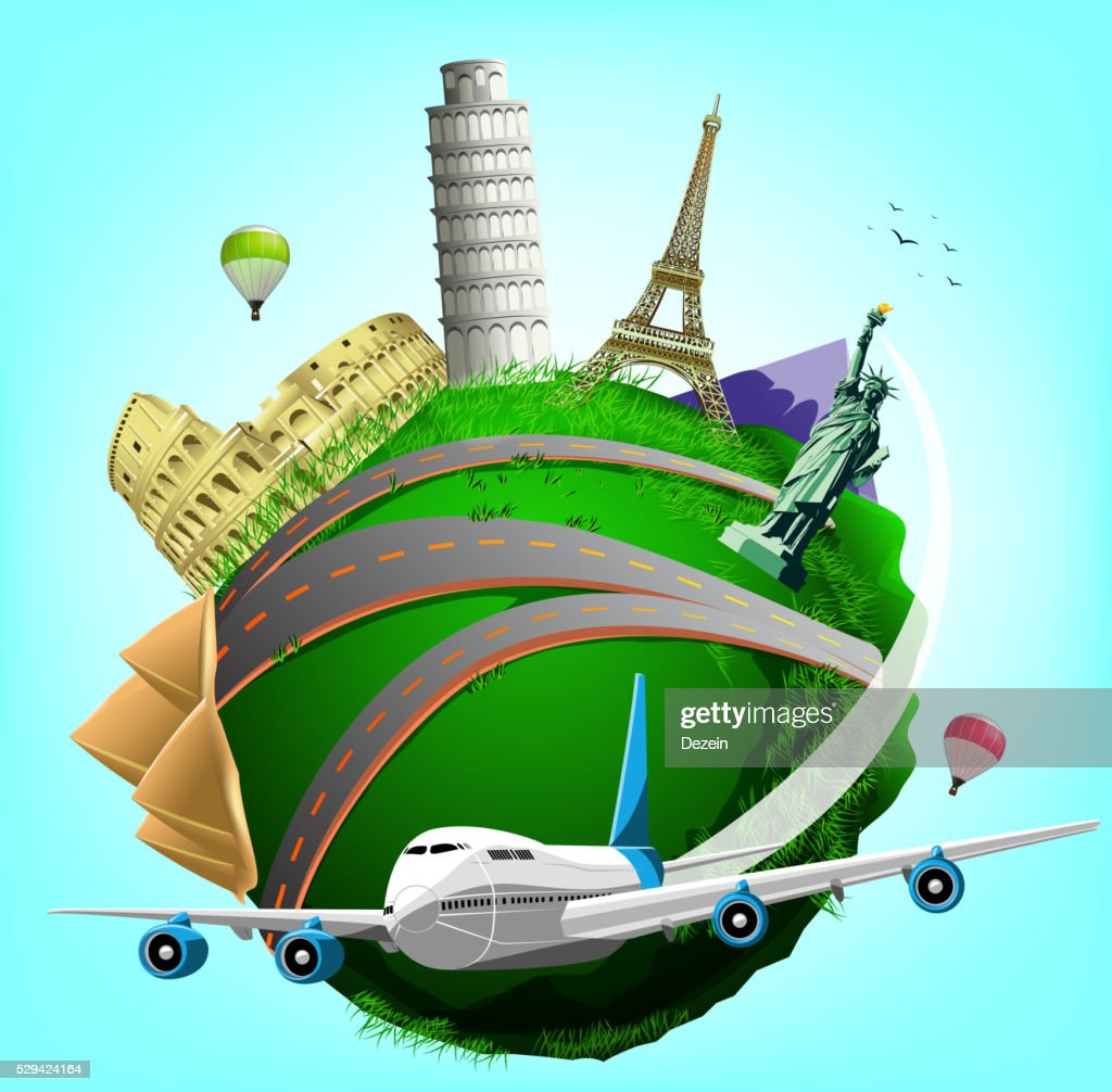 Vector Travel Green Planet with Plane and World's Famous Landmarks