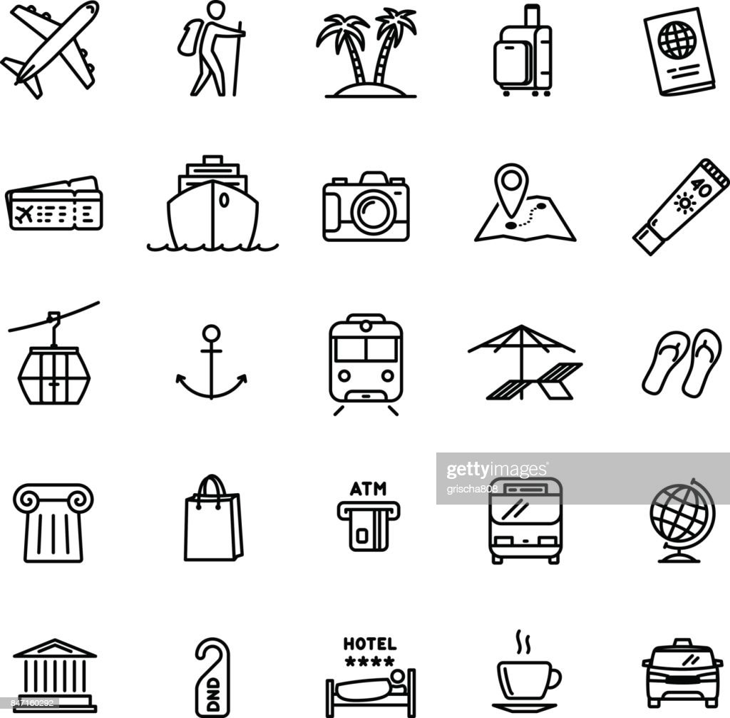 Vector travel related set of 25 light outline icons