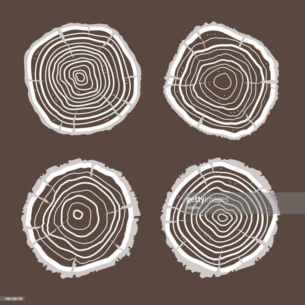 Vector tree rings set. Flat Design