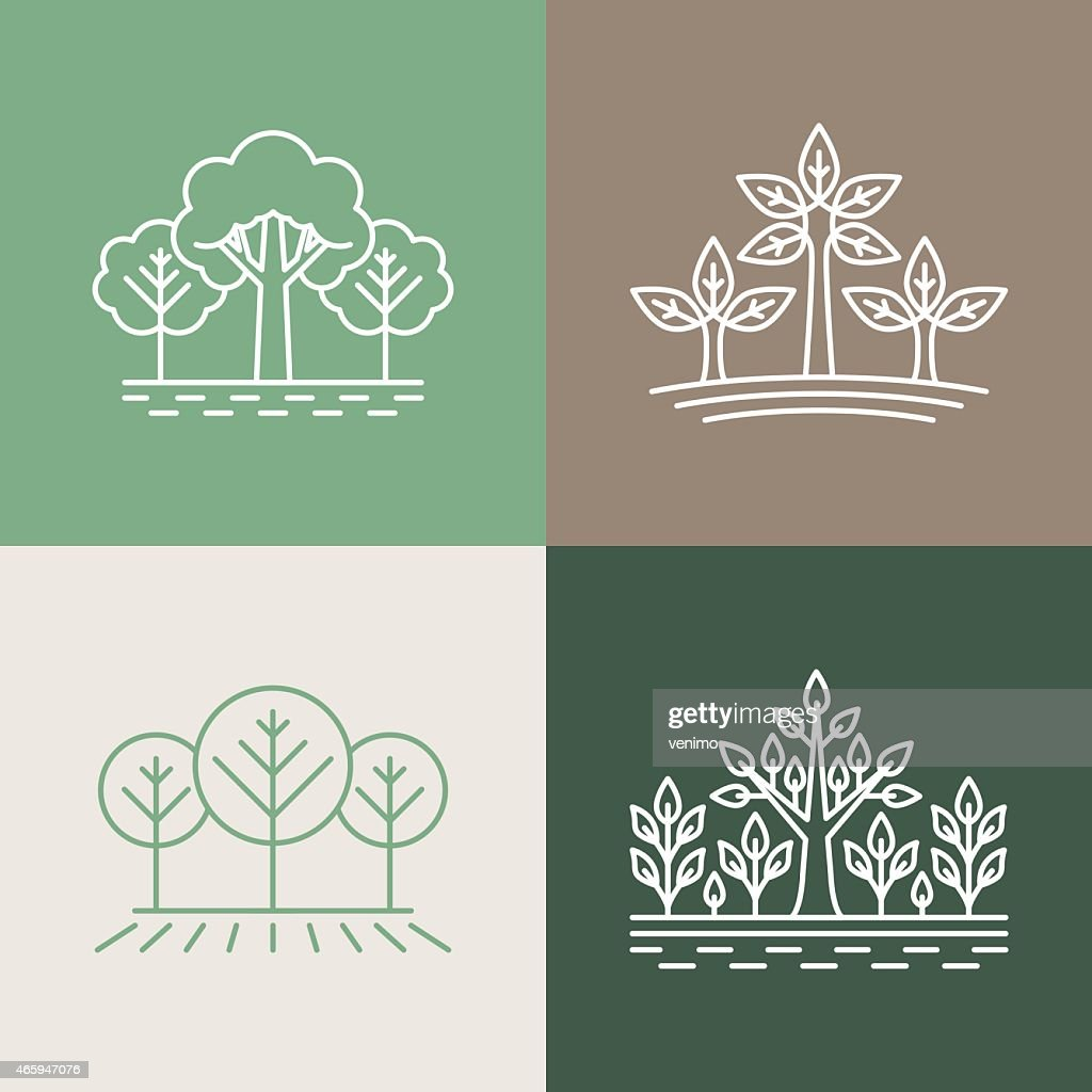 Vector trees and park logo designs in earthy colors